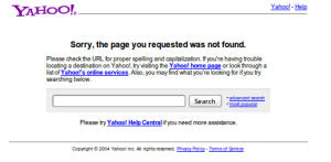 404-ая страница YAHOO